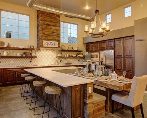Farmhouse Blend, kitchen, table, bar stools