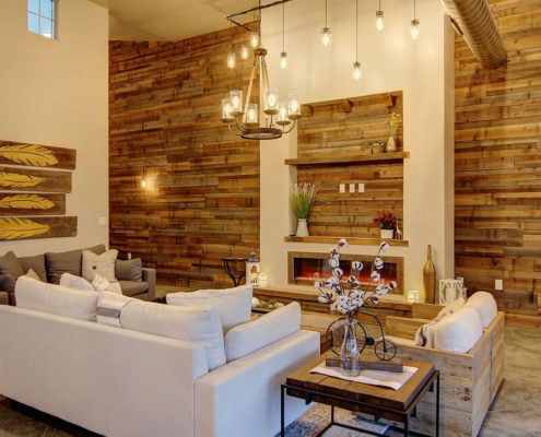 Farmhouse Blend, couch, wood panelling,