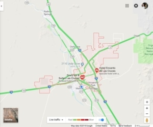 Traffic Map overview of Las Cruces - Green highways all through the town