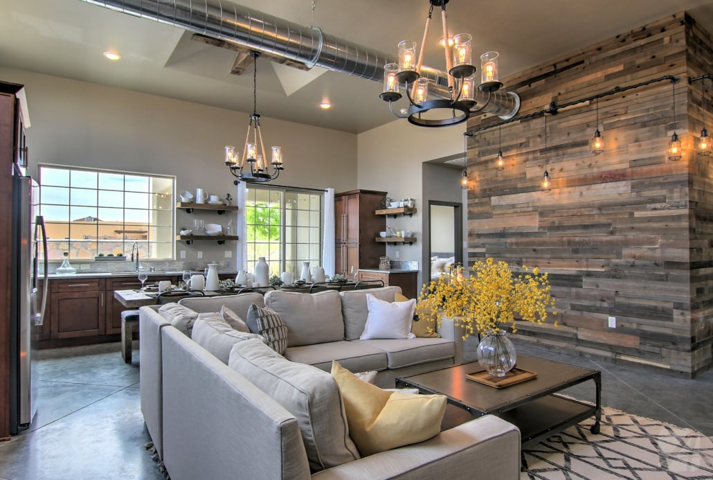 great room, industrial, luxury home, home style, arista development