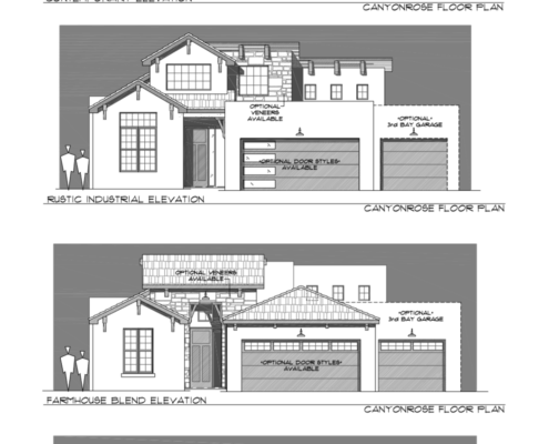 arista, Canyonrose Elevations, blueprints, houses,